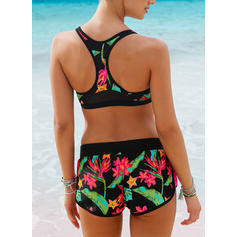 Tropical Print Strap Sexy Bikinis Swimsuits