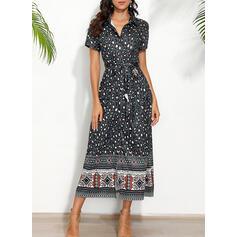 Print/Leopard Short Sleeves A-line Casual/Boho/Vacation Maxi Dresses