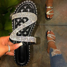 Women's PVC Flat Heel Sandals Peep Toe Slippers With Rhinestone Rivet shoes