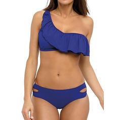 Tinta unita Ruffles Tasche Bella Stile classico Bikinis Costumi Da Bagno