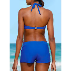 Solid Color Push Up Halter Sexy Fresh Bikinis Swimsuits