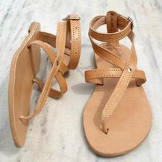 Femmes Similicuir Talon plat Sandales Chaussures plates avec Dentelle chaussures