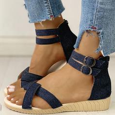 Donna Jean Tacco basso Sandalo Punta aperta con Fibbia Cerniera scarpe