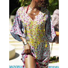 Tassels V-Neck Vintage Plus Size Boho Cover-ups Swimsuits