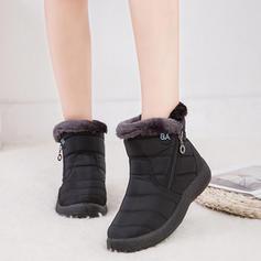 Women's Cloth Flat Heel Boots With Zipper Faux-Fur shoes