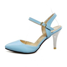 Women's Patent Leather Spool Heel Pumps Closed Toe With Buckle shoes