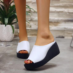 Women's PU Wedge Heel Sandals Peep Toe Slippers shoes
