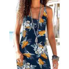Print/Floral Sleeveless Sheath Above Knee Casual Tank Dresses