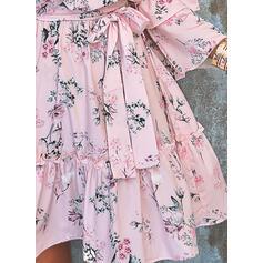 Impresión/Floral Manga Larga/Mangas Acampanadas Acampanado Sobre la Rodilla Casual/Elegante Patinador Vestidos