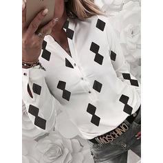 Εκτύπωση V-λαιμός Μακρυμάνικο Καθημερινό Блузки