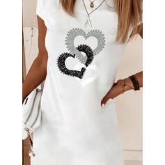 Print/Heart Short Sleeves Shift Above Knee Casual T-shirt Dresses