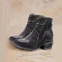 Kvinnor PU Låg Klack Boots med Nita skor