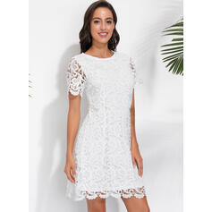 Lace/Solid Short Sleeves Shift Above Knee Little Black/Casual/Elegant Dresses