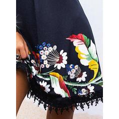 Encaje/Impresión/Floral Sin mangas Tendencia Sobre la Rodilla Casual/Vacaciones Camisón Vestidos