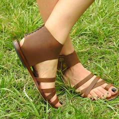 Femmes PU Talon plat Sandales Chaussures plates avec Lanière tressé chaussures