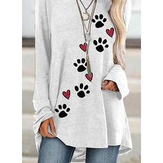 Animal Print Heart Round Neck Long Sleeves Sweatshirt