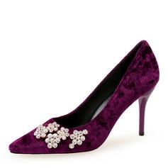 Dla kobiet Zamsz Obcas Stiletto Czólenka Zakryte Palce Z Stras/ Krysztal Górski obuwie