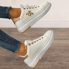 Dla kobiet Mikrofibra Płaski Obcas Plaskie Wysoki szczyt Round Toe Tenisówki Z Cekin Imitacja Pereł Sznurowanie obuwie