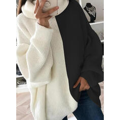 Color Block Cowl Neck Casual Long Sweaters