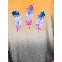 Gradient Nadruk Okrągły dekolt Krótkie rękawy T-shirty