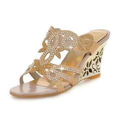 Femmes Similicuir Talon compensé Sandales Compensée À bout ouvert avec Strass chaussures