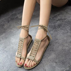 Women's Suede Flat Heel Sandals Flats Peep Toe Slingbacks With Lace-up shoes