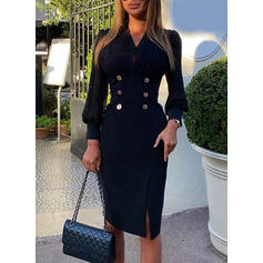 Solid Long Sleeves/Puff Sleeves Sheath Knee Length Little Black/Elegant Dresses
