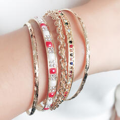 Beautiful Fashionable Exotic Rhinestones Iron Women's Bracelets (Set of 5)