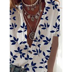 baskı V yaka Kısa kollu Düğmesiz Yakalı Günlük Gömlekler