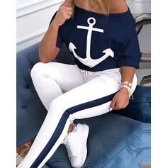 One Shoulder 1/2 Sleeves Print Unique Top & Pants Sets