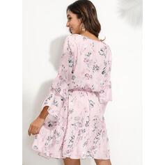 Imprimée/Fleurie Manches Longues/Manches Évasées Fourreau Au-dessus Du Genou Décontractée/Élégante Robes