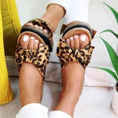 Frauen PU Flascher Absatz Sandalen Flache Schuhe mit Tierdruckmuster Schuhe