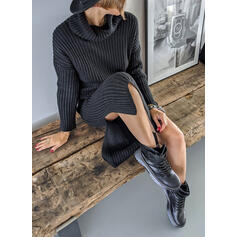 Sólido Manga Comprida Bainha Comprimento do joelho Vestido Preto/Casual Suéter Vestidos