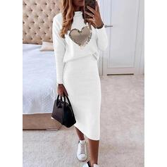 Print/Heart Long Sleeves Sheath Casual Midi Dresses