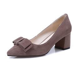 Donna Camoscio Tacco spesso Stiletto con Bowknot scarpe