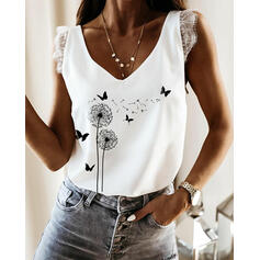 Animal Print Lace V-Neck Sleeveless Tank Tops