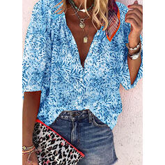 Print V-Neck 1/2 Sleeves Button Up Casual Blouses