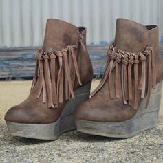 Kvinner PU Kile Hæl Ankelstøvler med Glidelås Tassel sko
