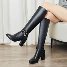 Frauen Kunstleder Stämmiger Absatz Absatzschuhe Stiefel Kniehocher Stiefel Schuhe