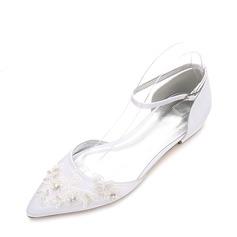 Femmes Soie comme du satin Talon bas Bout fermé Chaussures plates avec Boucle Strass Motif appliqué