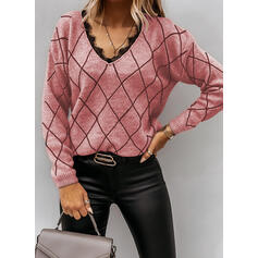 Grid Lace V-Neck Casual Sweaters