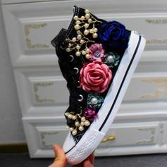 Donna Velluto Senza tacco Ballerine Punta chiusa con Allacciato Fiore scarpe