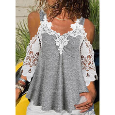 Lace Cold Shoulder 3/4 Sleeves Casual Blouses
