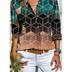 Renk Bloğu Geometrik Baskı klapa Uzun kollu Günlük Gömlekler
