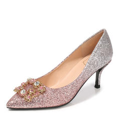 Women's Sparkling Glitter Stiletto Heel Pumps Closed Toe With Rhinestone shoes
