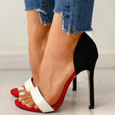 Women's PU Stiletto Heel Pumps Peep Toe Slingbacks With Splice Color shoes