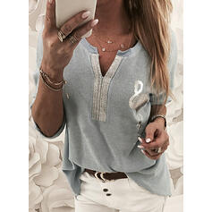 Animal Print Sequins V-Neck Long Sleeves Casual Blouses