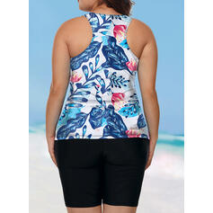 Floral Print Round Neck Vintage Plus Size Tankinis Swimsuits