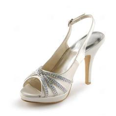 Mulheres Cetim Salto cone Peep toe Plataforma Sandálias Sapatos abertos com Fivela Strass