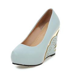 Femmes PU Talon compensé Escarpins Plateforme Bout fermé Compensée avec Talon de bijoux chaussures